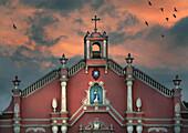 Church in colonial style at sunset, Villa Escudero, Manila, Philippines, Asia