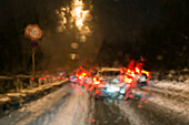road traffic, bad sight at rainy weather, nightdrive, winter, Germany, Europe