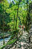 Several persons walking through canyon of Breitachklamm, Breitachklamm, Allgaeu Alps, Allgaeu, Svabia, Bavaria, Germany