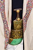 Ornate Yemeni jimbiya dagger with decorative cloth, Sanaa, Sanaa, Yemen