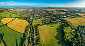 Aerial view of rural fields surrounding Gloucester city, Gloucestershire, England, Gloucester, Gloucestershire, England