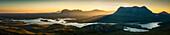 Panoramic view of remote mountains and lakes, Ullapool, Scotland, United Kingdom, Ullapool, Scotland, UK