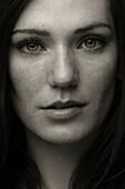 Close up of Caucasian woman's face, New York City, New York, USA