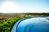 Infinity pool overlooking rural landscape, Puerto Vallarta, Jalisco, Mexico