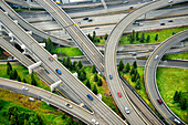 Aerial view of interstate change overpasses, Seattle, Washington, USA