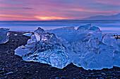 Glaciers melting on arctic beach, Reykjavik, Sudhurland, iceland