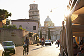 View of the Leaning Tower of Pisa from city street, Pisa, Toscano, Italy, Pisa, Toscano, Italy