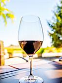 Close up of glass of wine on table, Walla Walla, WA, USA