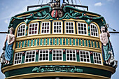 Ornate decorations on ship's windows, amsterdam, amsterdam, holand