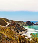 Waves on rocky cliffs, Big Sur, California, United States, C1