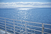 White railing overlooking seascape, unknown, unknown, Iceland