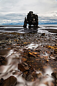 Water flowing over rocks on beach towards Hvitserkur Rock, Hvammstangi, Iceland, Hvammstangi, Iceland, Iceland