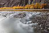 Time lapse view of river and rocky riverbed in remote landscape, Bayan Ulgii, Bayan Ulgii, Mongolia