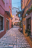 Cobblestone alleyway between village buildings, Rovinj, Istria, Croatia