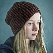 Teenage girl wearing knitted cap, Nizniy Tagil, Sverdlovsk, Russia