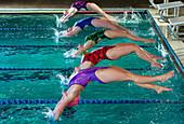 Swimmers diving off starting blocks, Bainbridge island, WA, USA