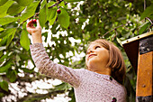 Caucasian girl picking cherry from tree, Los Angeles, CA, USA