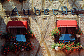 Europe, France, Lot, A facade of restaurant in Cahors.