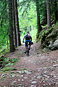 France, Alps, Argentière, forest, mountain bike