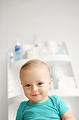 Baby smiling on a changing table
