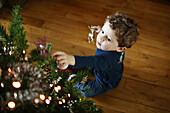 A 2 years old boy decorating a christmas tree