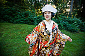 Japanese bride wearing traditional clothing