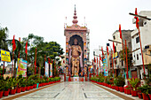 Large Indian statue of Hanuman in urban temple