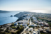 Aerial view of town along ocean, Oia, Egeo, Greece