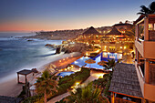 View of resort on ocean at night, Cabo San Lucas, BCS, Mexico
