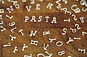 '''Pasta'' Spelled with Alphabet Noodles'