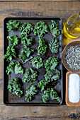 Kale Leaves on Baking Tray Being Prepared for Oven