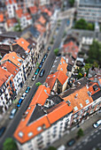 Tilt-Shift Aerial View of Apartment Buildings and Car-Lined Street, Brussels, Belgium