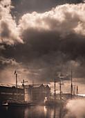 Tall Ships in Foggy Harbor, Gloucester, England, United Kingdom