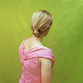 Blonde Teenage Girl in Pink Dress, Rear View