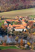 aerial, Benedectine monastery Marienrode, nunnery, Lower Saxony, northern Germany