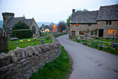 The center of Snowshill village, known for the Snowshill Manor in the Cotswold region of England.