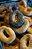 A stack of bagels at a breakfast cafe in Seattle, WA.