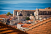 The red roofs and churches of Dubrovnik, Croatia.