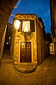 A beautiful home at dusk on a narrow street in Dubrovnik, Croatia.