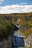 Middle and Upper falls of the Genesee river in Letchworth State Park