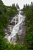 Shannon Falls waterfall in the forest in Squamish, Canada.