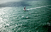 Aerial photo-shoot of the IMOCA Open 60 Alex Thomson Racing Hugo Boss during a training session before the Vend?e Globe in the English Channel. The Vend?e Globe is a round-the-world single-handed yacht race, sailed non-stop and without assistance.