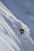 Matteo Boffi turns fast in the fresh powder of the Mont Rose in Gressoney, Valle d'Aosta, Italy.