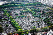 High elevation view of a graveyard in Paris.