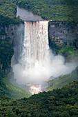 Aerial view of Kaieteur Falls in full spate, Guyana, South America