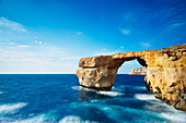 The Azure Window natural arch, Dwerja Bay, Gozo Island, Malta, Mediterranean, Europe