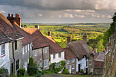Picturesque Gold Hill in Shaftesbury in spring, Dorset, England, United Kingdom, Europe