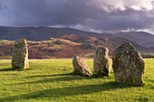 Megalithic standing stones forming part of Castlerigg Stone Circle, Lake District, Cumbria, England, United Kingdom, Europe