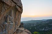 Rock carved Buddha image, UNESCO World Heritage Site, Mount Namsan National Park, Gyeongju, Gyeongsangbuk-do, South Korea, Asia