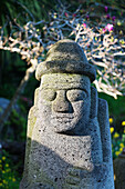 Dol hareubang (harubang) protection and fertility statue, Seogwipo City, Jeju Island, South Korea, Asia